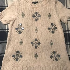 J Crew embellished beaded *snowflake* sweater